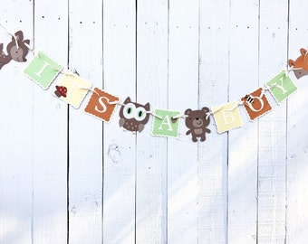 Woodland It's A Boy Banner/ Woodland Shower Banner/ Customized in any Color Combination/Fox/Owl/Deer/ Woodland Garland