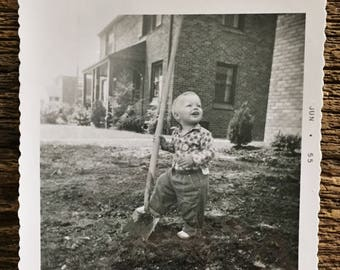 Original Vintage Photograph Ricky Helping in the Yard 1955