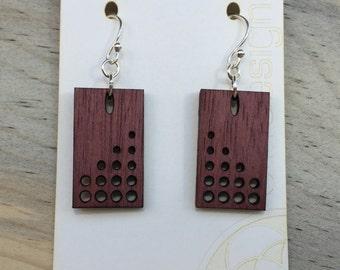 Modern Wood Earrings - Purple Heart - Dots
