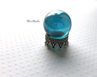 Magic Crystal Ball Miniature. Home Decor. Desk Totem. Fantasy. Spells. Wizards. Fortune Teller. Clairvoyant. Glass. Aqua. Sphere. Magic.