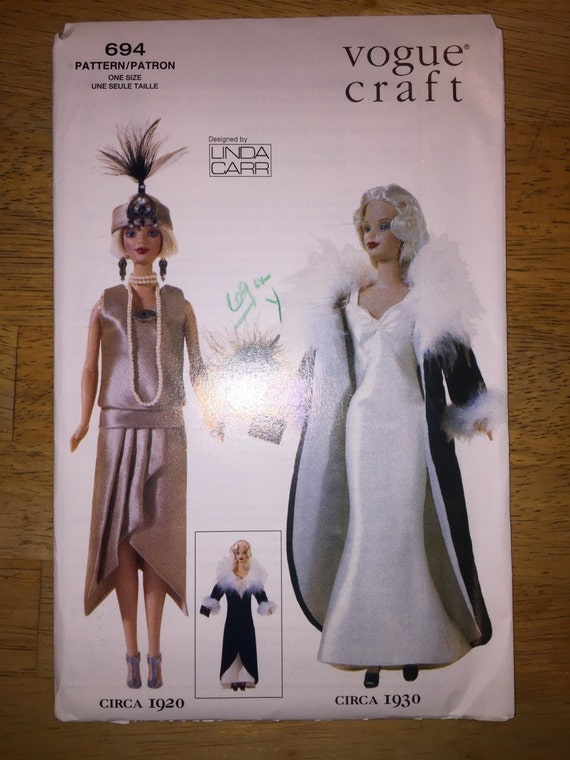 """Vogue Crafts Sewing Pattern 694 11 1/2"""" Fashion Doll Clothes 1920-1930s"""