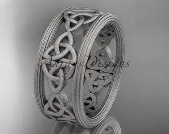 Platinum celtic trinity knot wedding band, matte finish wedding band, engagement ring CT7236G