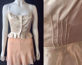 Reserved!!! 1930s satin camisole with Art Deco buttons