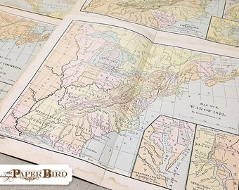 Vintage Map Collection | Maps of the USA | Vintage Ephemera | 6 pc Pack | Mixed Media Supply