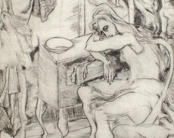 Vintage Artist Ballet Etching Print by Gloria Martin - Mid Century