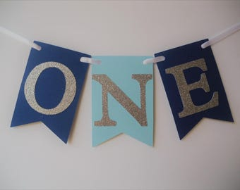 First Birthday High Chair Banner, Highchair Banner, Flag Banner, First Birthday, 1st Birthday, Blue Banner, Cake Smash Photo Prop, I Am One