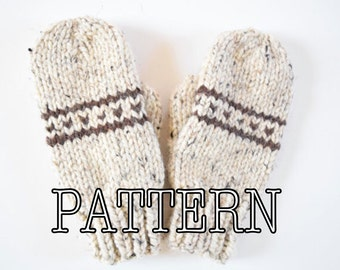Knitting PATTERN Fair Isle Knitted Mittens, Mittens Pattern, Knitted Mittens