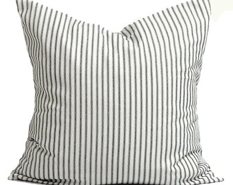 Ticking Stripe Pillow Covers, Black Ticking Decorative Pillow, Throw Pillow,Cushion,Ticking Stripe.cm,French Country.Farmhouse.Black Ticking