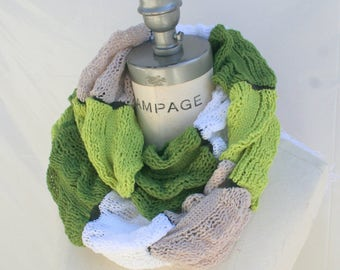 Knit knitted infinity Scarf scarves, Ruffle Scarf,  Green Scarf, Soft Lightweigh Scarf, Christmas Stockings Stuffer, PiYOYO