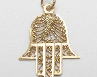 Vintage 14k yellow gold Hamsa filigree Pendant Diamond Cut Yemenite Israel Estate Made in Israel