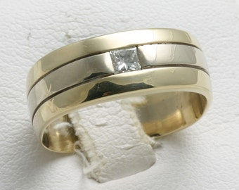 Vintage 14k yellow white gold Mens ring DIAMOND 1/4 carat princess cut band Estate