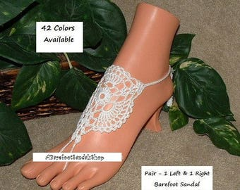 LACE Footless Wedding Sandal SHOES Crochet Barefoot Sandals Beach Wedding Foot Jewelry SIZED Lace Bridal Shoes Flats Anklet