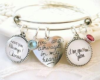 Handwriting Charm Bracelet Custom Signature Charm Jewelry Mothers Bracelet Child Handwriting Special Gift for MOM Grandmom Gift for Wife
