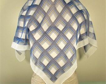Blue Plaid Sheer Scarf - Vintage Square Geometric Glentex