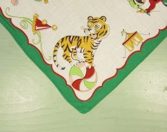 Child's Circus Hankie - Vintage Green Tiger Monkey Ringman