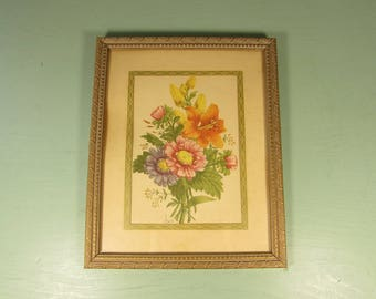 Flower Bouquet Wall Hanging - Vintage Chirat Print Matted Framed Picture