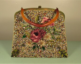 Needlepoint Beaded Purse - Vintage Soure New York Tapestry Hand Bag