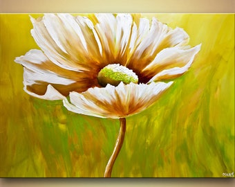 Daisy Painting - Stretched Canvas, Embellished & Ready-to-Hang Print - Daisy - Art by Osnat
