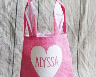 Personalized Easter Basket, burlap easter basket, bunny ears easter basket, personalized Easter gift