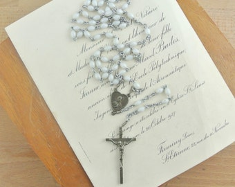 Vintage White Beaded Rosary with Metal Cross | 59 Beads