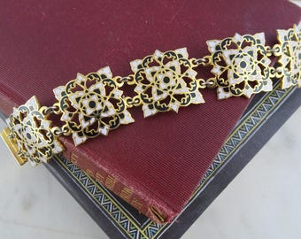 Vintage Pink, Black & White Enamel Bracelet, Gold Tone 80's Panel Bracelet with Cutout Floral Design