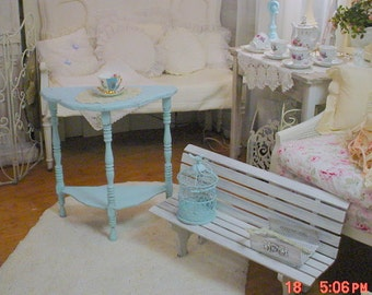 Painted Turquoise Table Vintage Demilune Shabby Chic Paris Apt Cottage