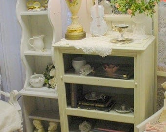 Vintage Bookcase Cabinet Painted White French Country Shabby Chic