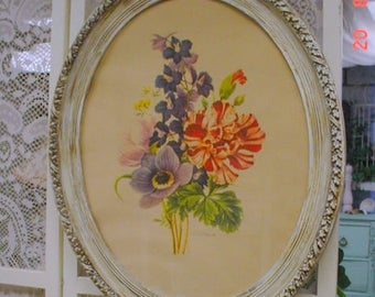 Vintage Redoute Print Florals Aged Ornate  French Cottage Farmhouse Chic