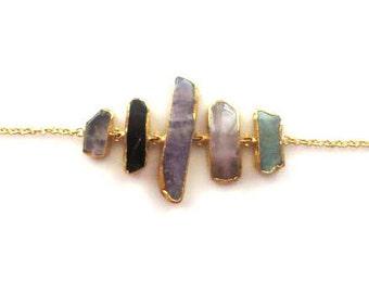 Pale Purple, Soft Pink, Sea Foam And Black Quartz Bracelet
