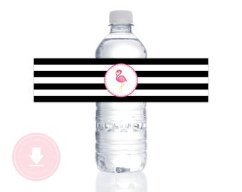 INSTANT DOWNLOAD Flamingo Water Bottle Labels (Flamingo Water Bottle Wraps, Flamingo Printable Water Bottle Labels, Black Flamingo)