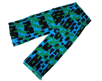 Vintage 60s SYMPHONY SCARFS Black Blue Green Abstract Printed Fashion Scarf