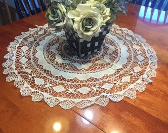Vintage 29 inch Ivory Hand Crochet doily or table runner for housewares, home decor, pillows, christmas, holiday, bags by MarlenesAttic