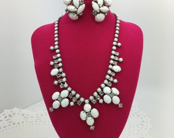 Stunning Vintage / Antique Milk Glass Necklace and Earring Set ~ Clip On ~ 50's Era ~ Clear Rhinestones, Silver Tone Base ~ Classy & Elegant