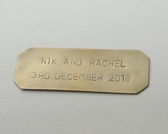 Personalized Nameplate  Magnet (7 x 2.5 CM), Brass Tag, Hand Stamped Plaque, Mail Box Plate, 2 lines of text Uppercase Arial Font