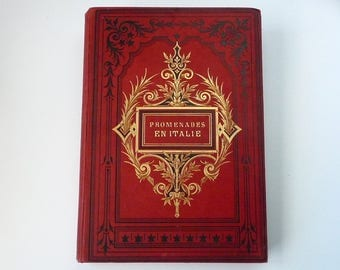 Unique Wedding Guestbook, Instant Photo Album Scrapbook Option Available, Extra Large Red Vintage Book