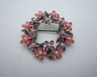 Vintage Round 1970s Enamel Dogwood Flower Pin  - Pink Purple Green - Faux Pearls - Retro Brooch - Cottage Chic - Womens Jewelry