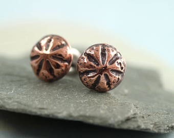 Copper Stud Earrings - Sea Urchin Domes - Everyday Small Posts