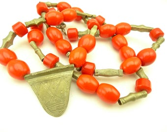 "32"" Tuareg made tribal necklace silver metal handmade trade beads Africa AE-0043"