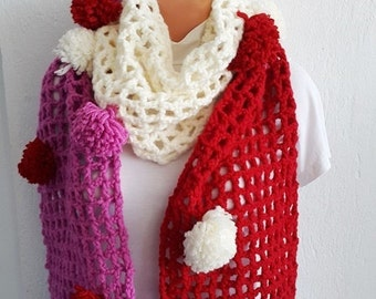 Pink white red with pompom Scarf Shawl ,Shawl Shoulder Wrap Shoulder Shawl Knitted Scarf , winter accessories,autumn,Poncho Scarf Shawl,