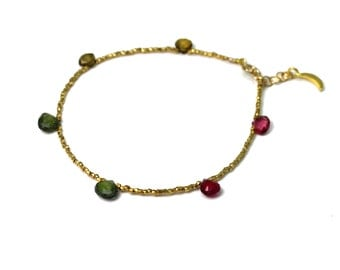 Beaded Gemstone Bracelet. Simple Briolette Stacking Bracelet. Gold Fill or Sterling Silver. B-1916-2