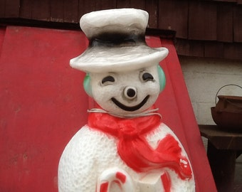 "Snowman Blow Mold Light Union Frosty 40"" High Vintage Christmas Decor Lawn Ornament"