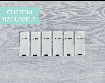 Qty 200 - Custom size labels - Baby size labels - Toddler size labels - Children's size labels - Adult size labels - Custom clothing labels