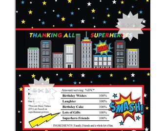 Superhero Thank You Chocolate Bar Wrappers, Skyline Birthday Chocolate Bar Wrapper-INSTANT DOWNLOAD