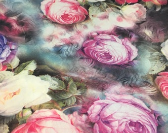 "57"" Width- English Roses Printed Polyester Georgette Woven Fabric"