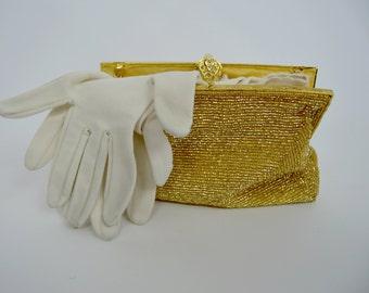 Vintage white Gloves - long white fancy cotton gloves - ladies size small to medium