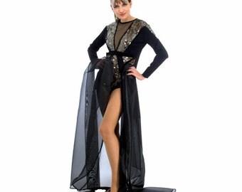 Black Bodysuit, Sequin Bodysuit, Elegant Clothes, Bodysuits for Women, Long Sleeve Bodysuit, Luxury Clothing, Vintage Bodysuit,Full Bodysuit