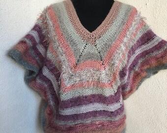 Vintage knit top sweater V neck dolman sleeves sz S M purples