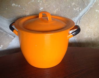 Orange Enamel Pot With Lid, Black Trim, Handles, Enamelware, Bean Pot