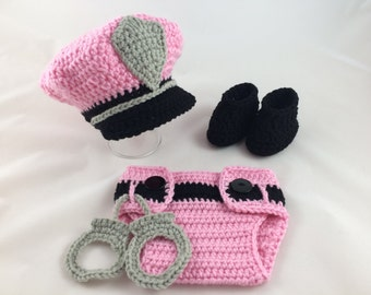 Baby Girl Police Outfit - Police Baby Girl - Police Baby Shower - Crochet - Photography Prop - Newborn - Baby Shower Gift - Pink