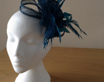 Petrol Green Blue Fascinator and Feather Fascinator on a clip races, weddings, special occasions, Ascot, Mother of the Bride